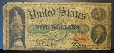 1863 U.S. Note $5 Legal Tender Circulated Edge Tears     ** FREE US SHIPPING **