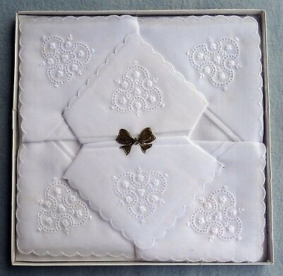 6 Vintage Boxed White Embroidered Handkerchiefs - New Old Stock