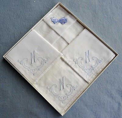 3 Vintage Boxed Embroidered Handkerchiefs Initial M - New Old Stock