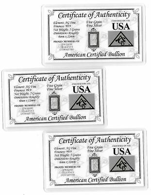 Pure Mint Fine Silver 5 Grain Bar Collection US Card Invest Birthday Gift Lot AA