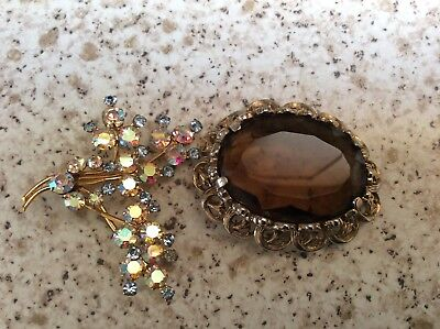 3 Vintage brooches. Crystal, Cameo, coloured glass. Costume Jewellry. Stunning.