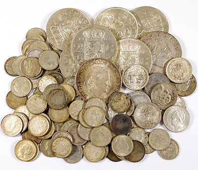 1903 - 1966 Netherlands Silver Coin Lot - 10c, 25c & 2 1/2 Gulden - 93 Coins!