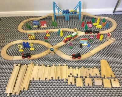 🐝great Train Set -Trains Carriages Track Over 100 Pces Brio + Other Makes🚂🚂