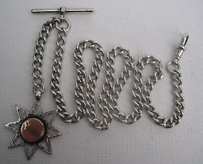 Antique Solid Silver Long Albert Pocket Watch Chain w. 8 Pointed Star Silver Fob