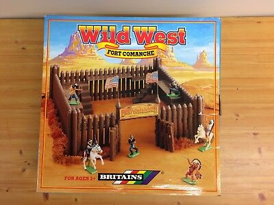Britains Wild West Fort Comanche Playset Boxed Cowboys And Indians contents new!