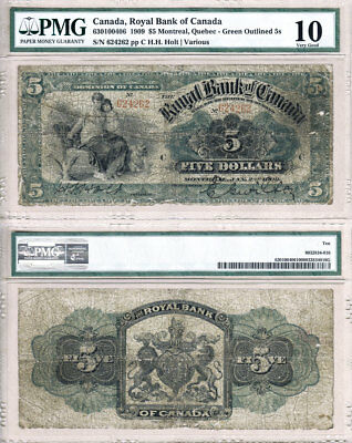 NO RESERVE AUCTION: 1909 $5 The Royal Bank of Canada Green Outlined 5s PMG VG10