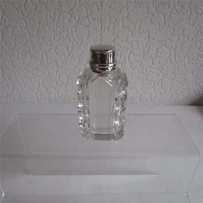 Antique Continental Glass Scent Bottle With Silver Lid - Possibly French