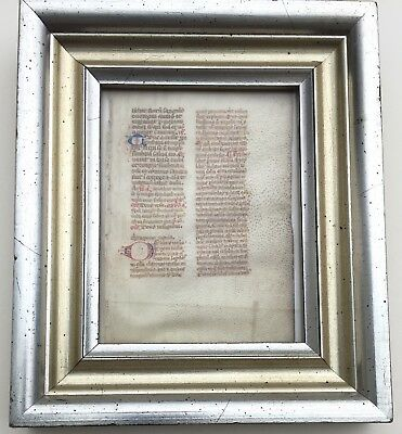 orig. c 15th century ILLUMINATED MANUSCRIPT PAGE ON PARCHMENT in Latin