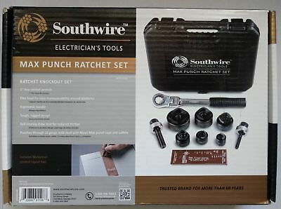 NEW Southwire 9-Piece Max Punch Ratchet Knockout Punch Set Kit w/Case MPR-01SD