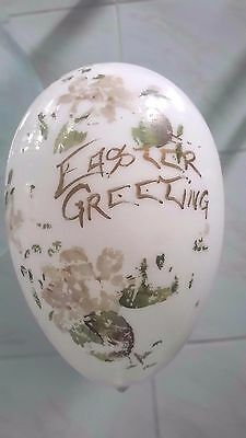 """Big 6"""" Antique Victorian Blown Glass Easter Egg Hand-Painted 10"""" Circumference"""
