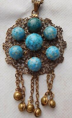 Edwardian Necklace , Arts & Crafts Turquoise In Brass Filigree