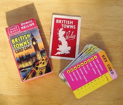'British Towns' Vintage Card Game By Pepys-Box, Cards & Rules In Vgc-Good Game!