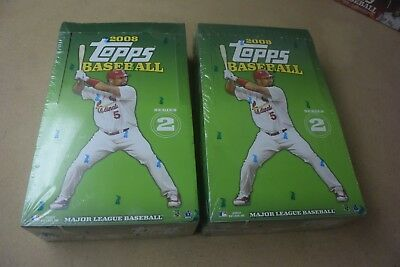 2008 Topps Baseball Series 2 Factory Sealed Hobby Wax Box Lot of 2 Boxes Nice!