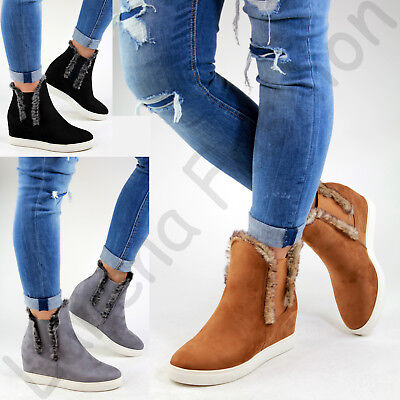 New Womens Ankle Boots Chelsea Fur Hidden Wedge Heel Casual Sneakers Shoes Sizes