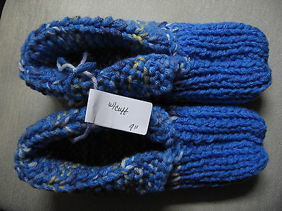 NWOT Amish Handmade House Slippers w/Cuffs Blue Mix Mans Small Womans Medium 9""