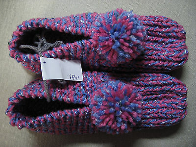 NWOT Handmade House Slippers Booties Periwinkle & Pink Womans Med Mans Sm 8 3/4""