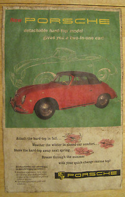 1950s Porsche 356A T2 Cabriolet Advertising Poster 11 x 17 356 Removable Hardtop