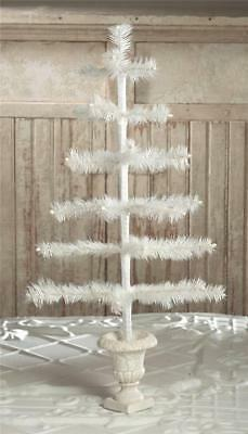 """Bethany Lowe 28"""" Ivory Feather Christmas Tabletop Tree in Urn Base"""