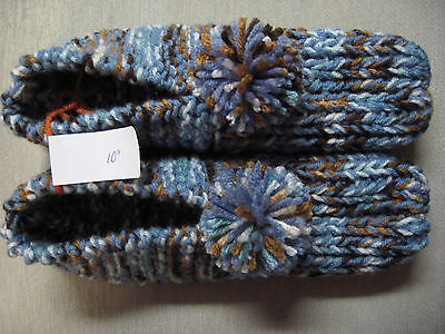 New Handmade House Slippers Country Blue/Brown Mix Mans Med/Lg Womans X Lg 10""