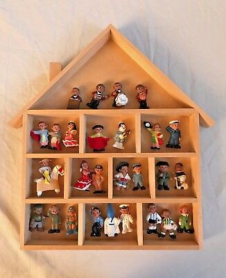 Vintage Spanish hand painted Mud Dolls - LOT 27 figures w/ Wooden House Frame
