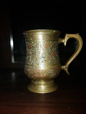 Beautiful antique well engraved patina brass mug made in India!!!