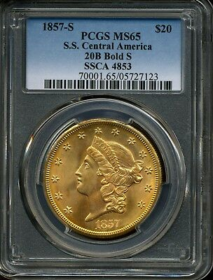1857-S G$20 Gold Double Eagle SS Central America 20B Bold S MS65 PCGS SSCA 4853