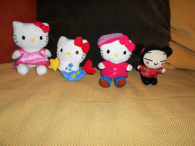 ....Lot 4 peluches HELLO KITTY + PUCCA 18 cm.....