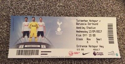 USED TICKET: Tottenham Spurs V Borussia Dortmund: UEFA YOUTH: 13 September 2017