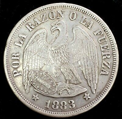 1883 Silver Chile 1 Peso Condor Round Top 3 Coin Santiago Mint About Unc.