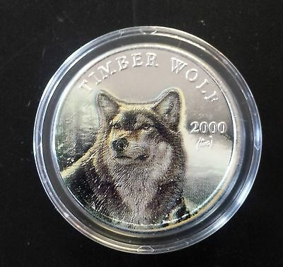 Liberia 2000 $10 Timber Wolf .999 Silver in Capsule with Box KM# 699