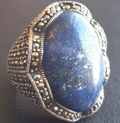 Signed 925 Sterling Silver K THAI Ring Size 6.5 Lapis Lazuli Blue Marcasite W211