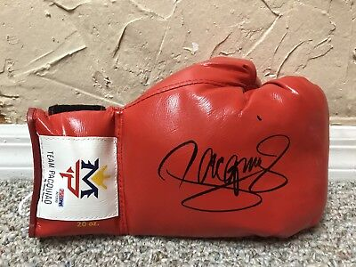 MANNY PACQUIAO SIGNED AUTO RED MP RIGHT BOXING GLOVE PSA DNA Mayweather PROOF!
