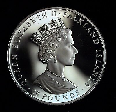 1985 Falkland Islands 100th Anniversary Silver Proof 25 Pound Coin☆☆