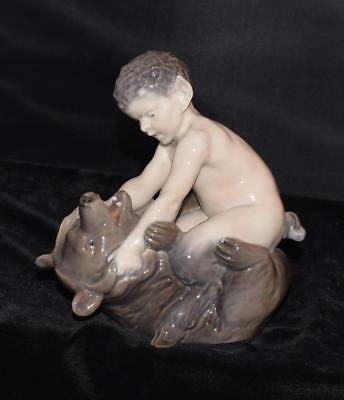 "Royal Copenhagen Figurine-""FAUN WRESTLING W/ BEAR #648- Christian Thomsen -Mint"