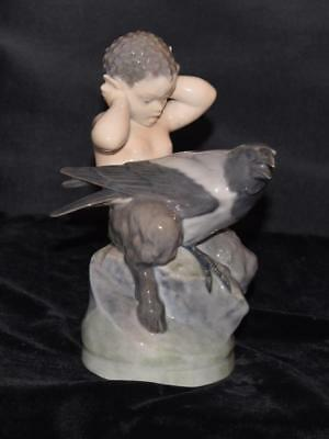 "RARE Royal Copenhagen Figurine-""FAUN WITH CROW"" #2113- Christian Thomsen -Mint"