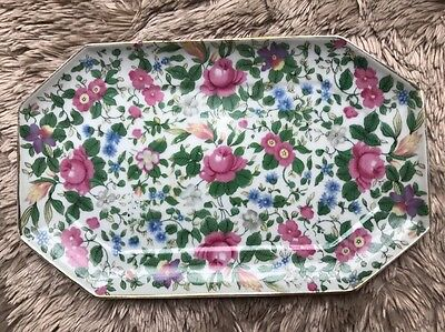 "Vintage Floral Chintz Nasco Imperial China Japan Small Platter 8.5"" X 5.25"""
