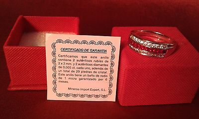 Anillo Rodio Autenticos Rubies Y Diamantes