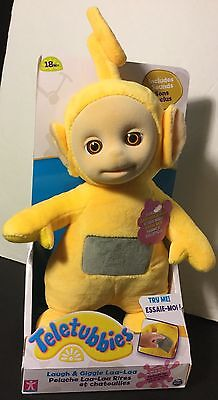 """Teletubbies 10"""" Laugh and Giggle Laa Laa doll super soft plush velvet face sound"""
