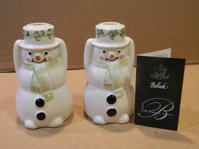 2 Belleek Snowman Candle Holder Figurines Shamrocks & COA