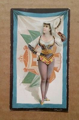 """Flags & Costumes """"Italy"""" Honest Long Cut Tobacco Card,1890's"""
