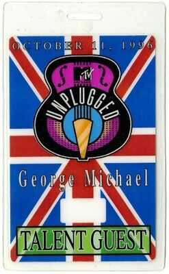 George Michael authentic 1996 concert Laminated Backstage Pass MTV Unplugged
