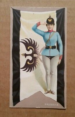 """Flags & Costumes """"Prussia"""" Honest Long Cut Tobacco Card,1890's"""