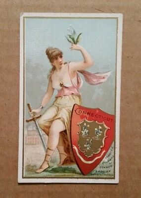 """Industries of The States """"Connecticut"""" G.W.Gail & Ax Tobacco Card,1890's"""