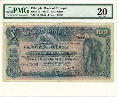 Ethiopia 100 Thalers Currency Banknote 1932 - PMG 20 VF