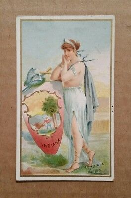 """Industries of The States """"Indiana"""" G.W.Gail & Ax Tobacco Card,1890's"""