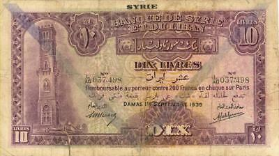 Syria 10 Livres O/P Currency Banknote 1939