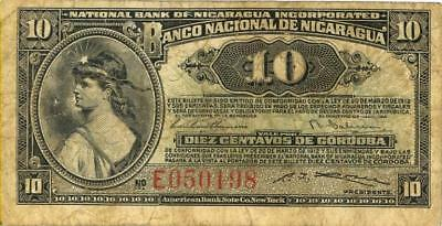 Nicaragua 10 Centavos Currency Banknote 1912