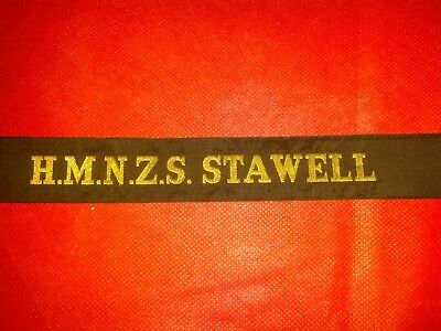 Navy Cap Tally Ribbon H.M.N.Z.S. STAWELL New Zealand N.O.S. Military