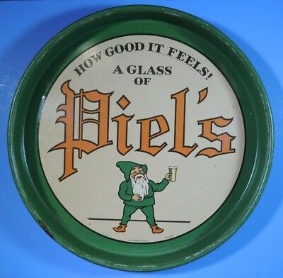 "Vintage How Good It Feels A Glass of Piel's Gnome Burdick 12"" Beer Serving Tray"