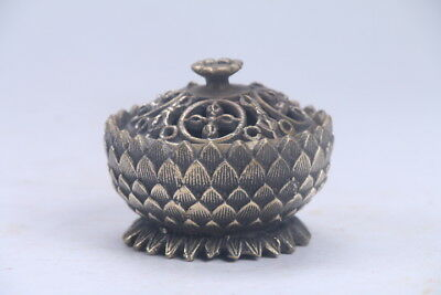 Exquisite Chinese carving brass Incense burner & lotus lid  ac209